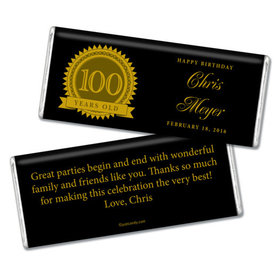 Milestones Personalized Chocolate Bar Candy 100th Birthday Favors