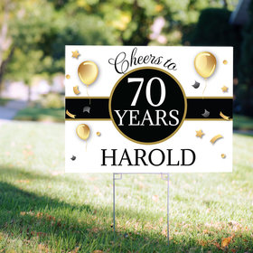 70th Birthday Yard Sign Personalized - Milestone Cheers