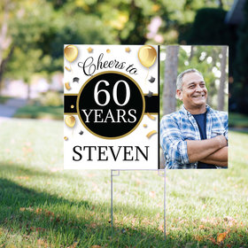 60th Birthday Yard Sign Personalized - Milestone Cheers with Photo