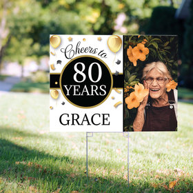 80th Birthday Yard Sign Personalized - Milestone Cheers with Photo