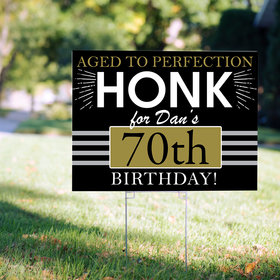 70th Birthday Yard Sign Personalized - Aged to Perfection