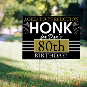 80th Birthday Yard Sign Personalized - Aged to Perfection