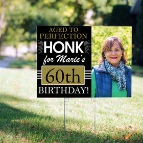 60th Birthday Yard Sign Personalized - Aged to Perfection with Photo