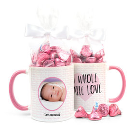 Personalized Baby Girl Announcement Latte Love 11oz Mug with Hershey's Kisses