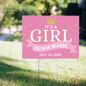 Personalized It's a Girl Yard Sign - Birth Announcement Crown