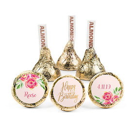 Personalized Birthday Pink Flowers Hershey's Kisses (50 pack)