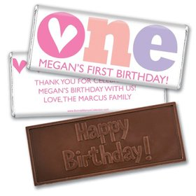 Bonnie Marcus Personalized 1st Birthday Adorable One Embossed Chocolate Bars