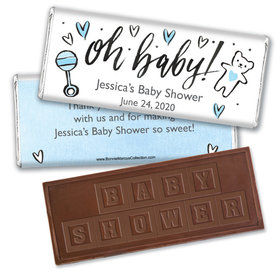 Personalized Bonnie Marcus Baby Shower Icons Embossed Chocolate Bar & Wrapper