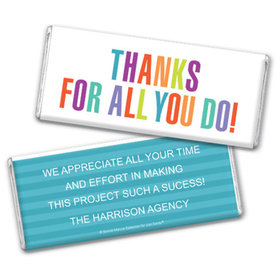 Personalized Bonnie Marcus Business Thank you Stripes Chocolate Bar & Wrapper