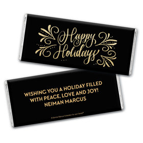 Personalized Bonnie Marcus Happy Holidays Flourish Chocolate Bar Wrappers