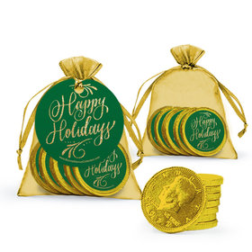 Happy Holidays Flourish Chocolate Coins in Organza Bags with Gift Tag