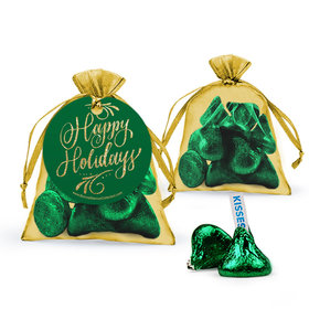 Happy Holidays Flourish Hershey's Kisses in Organza Bags with Gift Tag