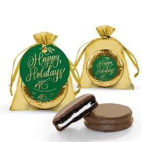 Personalized Happy Holidays Flourish Chocolate Covered Oreo Cookies in Organza Bags with Gift Tag
