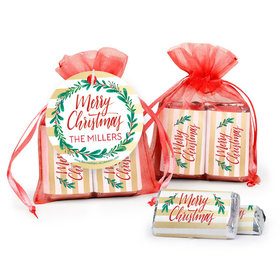Personalized Hershey's Miniatures in Organza Bags with Gift Tag - Christmas Chic