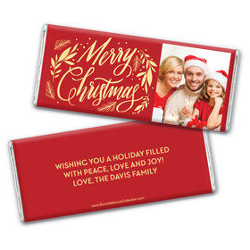 Personalized Bonnie Marcus Festive Leaves Photo Chocolate Bar Wrappers