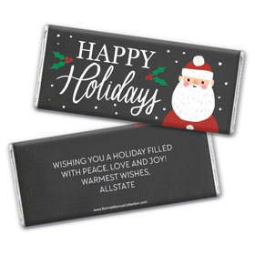 Personalized Bonnie Marcus Christmas Snowy Santa Chocolate Bar Wrappers