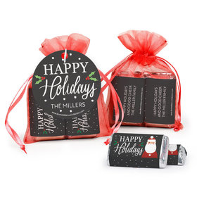 Personalized Hershey's Miniatures in Organza Bags with Gift Tag - Christmas Snowy Santa