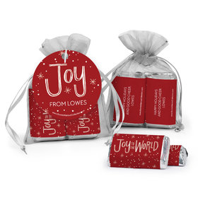 Personalized Hershey's Miniatures in Organza Bags with Gift Tag - Joy to the World