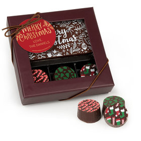 Personalized Christmas Joyful Gold Gourmet Belgian Chocolate Bar and Truffles - 3 Truffles