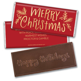 Personalized Bonnie Marcus Christmas Joyful Gold Embossed Chocolate Bar & Wrapper