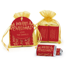 Personalized Hershey's Miniatures in Organza Bags with Gift Tag - Joyful Gold