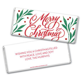 Personalized Bonnie Marcus Christmas Holly-day Joy Chocolate Bar & Wrapper