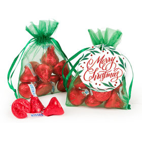 Christmas Hershey's Kisses in Organza Bags with Gift Tag