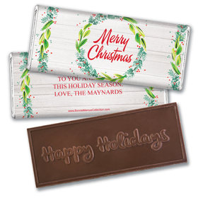 Personalized Bonnie Marcus Christmas Festive Foliage Embossed Chocolate Bar & Wrapper