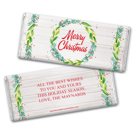 Personalized Bonnie Marcus Christmas Festive Foliage Chocolate Bar Wrappers