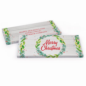 Deluxe Personalized Festive Foliage Christmas Chocolate Bar in Gift Box