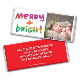 Personalized Bonnie Marcus Christmas Very Merry Photo Chocolate Bar Wrappers