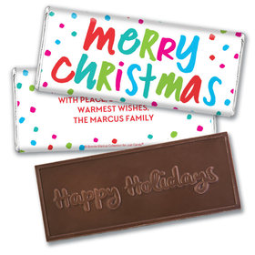 Personalized Bonnie Marcus Christmas Polkadot Party Embossed Chocolate Bar & Wrapper