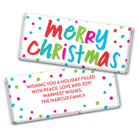 Personalized Bonnie Marcus Christmas Polkadot Party Chocolate Bar Wrappers