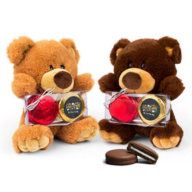Personalized Chocolate Covered Oreo Cookies Peace on Earth Teddy Bear with Chocolate Covered Oreo 2pk