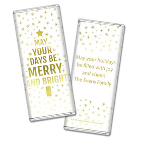 Personalized Bonnie Marcus Christmas Glittery Gold Chocolate Bar & Wrapper