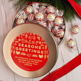 Personalized Christmas Season's Greetings Tin with Lindor Truffles by Lindt - 24pcs