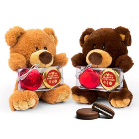 Teddy Bear with Chocolate Covered Oreo 2pk - Season's Greetings
