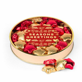 Christmas Seasons Greetings Milk Chocolate Foiled Stars Large Plastic Tin