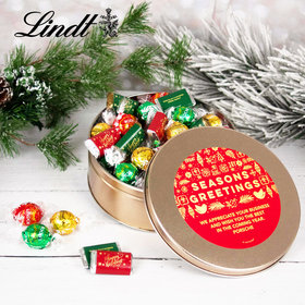 Personalized Seasons Greetings Tin with Lindor Truffles by Lindt - 24pcs
