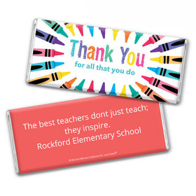 Personalized Teacher Appreciation Colorful Thank You Chocolate Bar & Wrapper