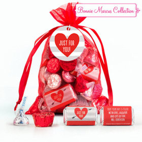 Personalized Red Medium Organza Bag Valentine's Day Stripes Hershey's Mix