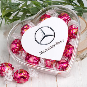 Personalized Valentine's Day Add Your Logo Clear Heart Box with Lindor Truffles