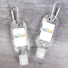 Custom Business Hand Sanitizer with Carabiner 1oz Bottle - Add Your Logo