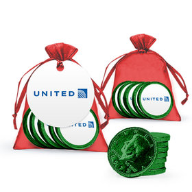 Christmas Green Chocolate Coins in Holiday Red Organza Bag - Add Your Logo