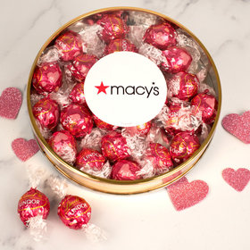 Personalized Valentine's Day Add Your Logo Large Plastic Tin with Lindt Truffles (24pcs)