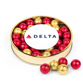 Personalized Gold & Red Caramel Filled Foil Balls Add Your Logo Large Plastic Tin