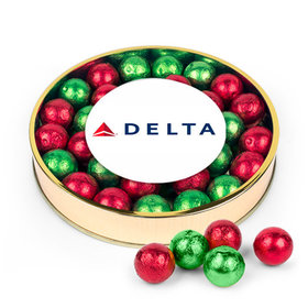 Personalized Red & Green Caramel Filled Foil Balls Add Your Logo Large Plastic Tin