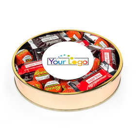 Personalized Hershey's Sugar Free Mini Chocolate Bars and Reese's Add Your Logo Large Plastic Tin