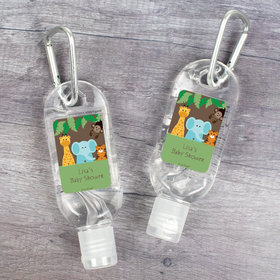 Personalized Hand Sanitizer with Carabiner 1 oz Bottle - Baby Shower Jungle Buddies