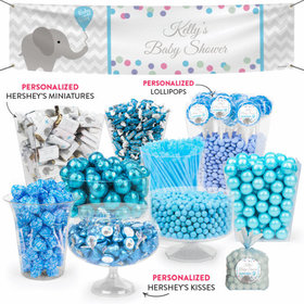 Personalized Baby Shower Blue Elephant Balloon Deluxe Candy Buffet